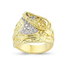 9CT GOLD SOLID CUBIC ZIRCONIA HORSE SADDLE CZ SHOT KNOT COWBOY RING BAND BOXED