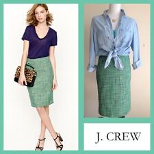 J CREW No. 2 Pencil Skirt in Clover Tweed Green White Size 4 $128