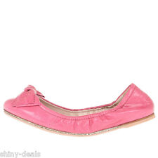 MIU MIU New Woman Pink Sequins Leather Bow Ballet Slip Ons Flats Shoes Size 40