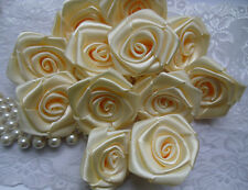 "1.5"" Ivory Satin Polyester Ribbon Roses Flowers Appliques - 24pcs-R0019Ia"