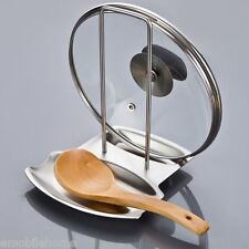 Stainless Steel Pan Pot Rack Cover Lid Rest Stand Spoon Holder.