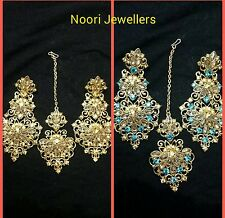 New Indian Bollywood Costume Jewellery Earrings Set With Head Piece Tikka