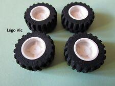 Lego 'Tyre 30.4 x 14' 30391 4x pneus roues + jante wheel blanc white 30285