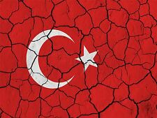 PRINT PAINT ABSTRACT FLAG CRACKED CONCRETE TURKEY TURKISH CRESCENT STAR LFMP0176
