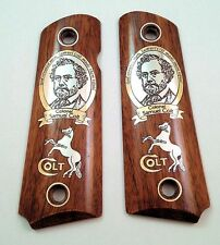 1911 custom engraved wood grips gold silver COLT portrait rampant horse logo