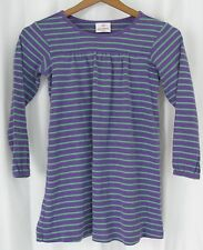 Girl's 120 HANNA ANDERSSON Purple Green Striped Ribbed Knit Dress GUC