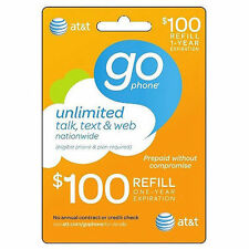 AT&T GO PHONE $100 Refill. Fast Reload Directly to Phone.