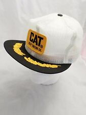 CATERPILLAR vintage white logo mesh trucker snapback hat DEADSTOCK NEW