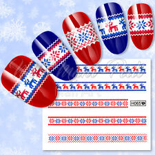 Nail Art Water Decals Transfers Stickers Ugly Christmas Jumper Sweater Snow H065