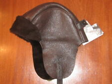 NWT $160 CROWN CAP SIGNATURE sheepskin dark brown BOMBER HAT OS fits most!!