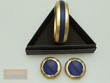 Vintage brazalete y orejas Claude Montana parís dorado azul plexiglas 1980s