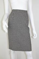 Chanel Boutique Black Ivory Plaid Check Pencil Skirt w Pockets 40 4 6 S SM