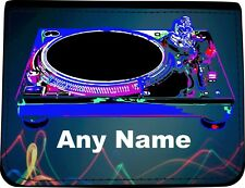 PERSONALISED DJ TURNTABLE PRINT FAUX LEATHER MENS WALLET BIRTHDAY XMAS GIFT