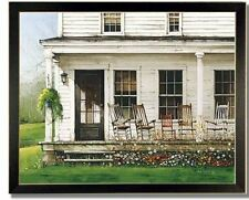 Front Porch Rockers Antique Decor Country Print Framed