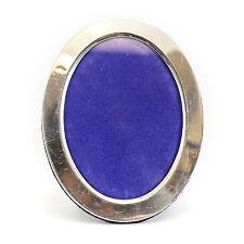 Italian Sterling Silver Oval Picture Frame, c1960 w/ Blue Velvet Easel Backing