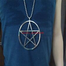 Top Polished Stainless steel Pentagram satanic worship Pendant Necklace Big 4''
