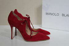 New sz 7 / 37 Manolo Blahnik Refolada Red Suede Tie Front Pointed Toe Pump Shoes