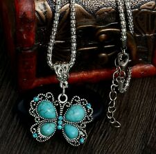 Turquoise Butterfly Pendant Necklace  With Chain, Antique Silver Vintage Style