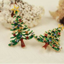 Brooch Enamel Gorgeous Rhinestone Crystal Christmas Tree Pin Holiday Party Gift#