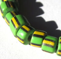 46 RARE OLD SMALL LIME GREEN STRIPED VENETIAN SLICES TRADE BEADS