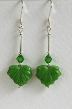 Unusual STERLING SILVER 925 EARRINGS Green Leaf CZECH GLASS CRYSTAL Hand Made