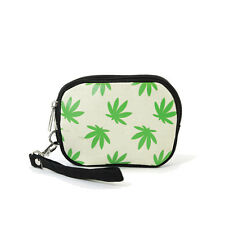 NEW WEED,CANNABIS BLACK+WHITE+GREEN CANVAS SMALL COIN PURSE,WRISTLET,WALLET