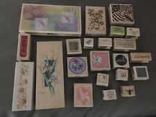 Big Lot Of Wood Mounted Rubber Stamps 22pc Flowers Bee Bird Dragonfly