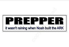 prepper car bumper sticker about prepping for doomsday survival  220 mm decal
