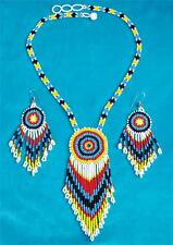 """SUNBURST"" NATIVE AMERICAN BEADED NECKLACE & EARRING SET"