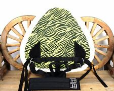 CANVAS TREELESS GREEN ZEBRA WESTERN TRAIL BAREBACK HORSE SADDLE PAD