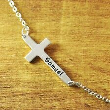 Personalized Necklace, Custom name jewelry, Hand stamped, Alloy cross necklace