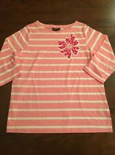 Bob Mackie Wearable Art Pink And White Stripe Top With Flower EUC Large
