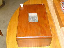 VERY NICE SMALL WOOD & TIN ART WALL CABINET BOX 3 SHELVES DOOR HANDLE SOLID