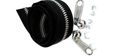 1 Yard Blk YKK #5 Aluminum Chain 2 Fancy Long Pull Sliders 4 top 2 bottom stops