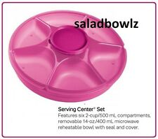 TUPPERWARE LARGE SERVING CENTER SET Veggies Chips Dips FUCHSIA KISS Pink fREEsHP