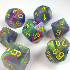 Chessex Dice Poly - Festive Rio w/Yellow - Set Of 7- 27449 -Free Velvet Bag! DnD