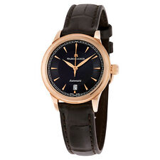 Maurice Lacroix Les Classiques Black Dial Brown Leather Automatic Ladies Watch