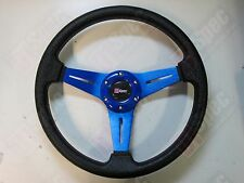 D1 SPEC FLAT 350mm PU LEATHER STEERING WHEEL BLUE fit OMP MOMO NARDI SPARCO SF