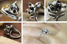 Fashion Lovely Silver Plated Kitten Cute Cat Animal Crystal Black Eyes Ring