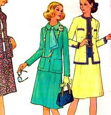 "Vintage 70s SUIT Sewing Pattern Bust 36"" Size 12 RETRO Designer JACKET & SKIRT"