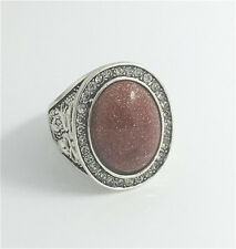 Vintage Woman 316L Stainless Steel Vogue Design Mini Stone Ring Size 8  NEW
