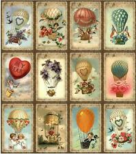 12 HOT AIR BALLOON VALENTINE - VINTAGE LOOK - PAPER CRAFT CARD TAG SCRAPBOOK