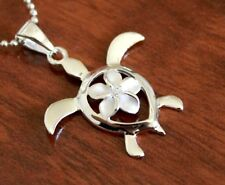 Hawaiian Jewelry 925 Sterling Silver PLUMERIA TURTLE Pendant Necklace # SP24401