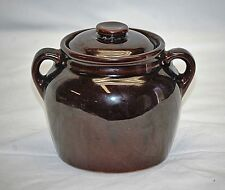 Old Vintage Stoneware Pottery Double Handled Bean Pot Crock w Lid Brown ~ USA a