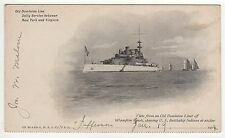 1904 OLD DOMINION LINE PC Postcard SS JEFFERSON USS Quinnebaug VIRGINIA Hampton