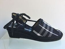 BURBERRY Brand Signature Pattern Fabric Ankle Strap Sandals Shoes Wedges Size 40
