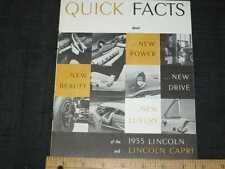 1955 Lincoln Custom & Capri Quick Facts Sales Brochure