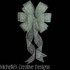 """10"""" W SILVER BOW FOR DECORATION~CHRISTMAS WREATHS~25TH ANNIVERSARY PARTIES~GIFTS"""