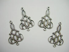 Antiqued Silver plated Brass Art Deco Drops Earring - 4