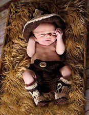 Newborn baby Crochet Photo Prop Cowboy Set Hat Boots Diaper Cover Costume Outfit